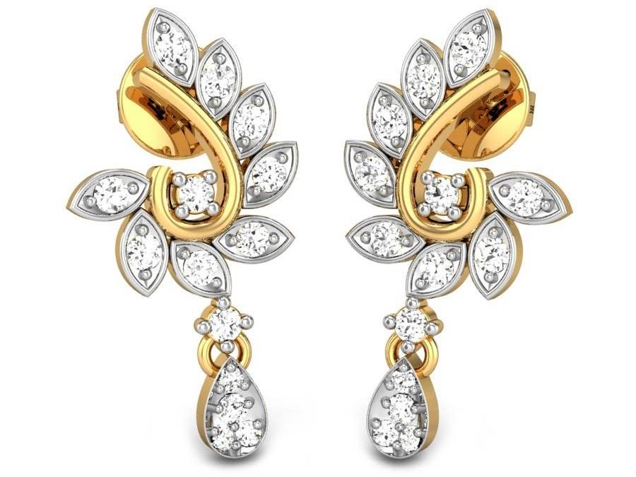 Anting Berlian Kombinasi Emas