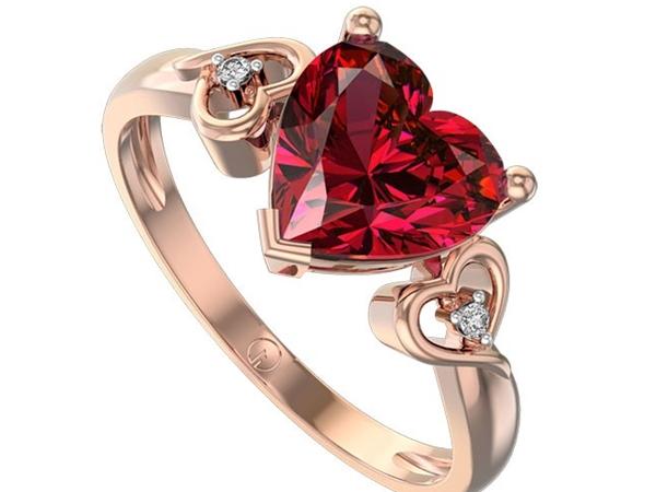 Cincin Berlian Model Merah Hati