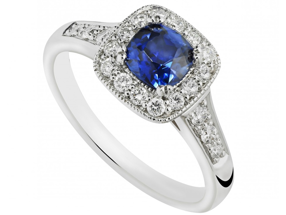 Model Cincin Berlian Biru Laut